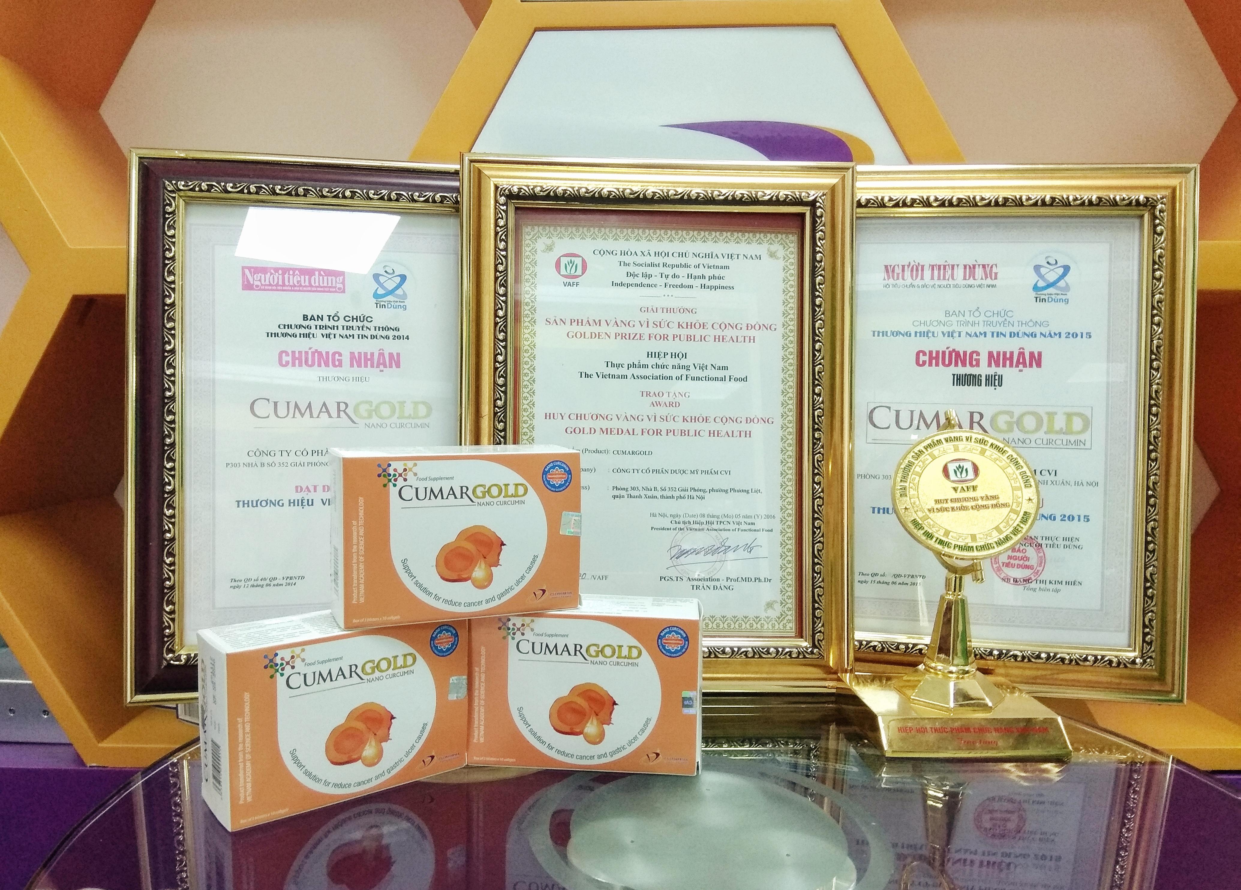 CumarGold đã vinh dự nhận được nhiều giải thưởng cao quý do người tiêu dùng bình chọn