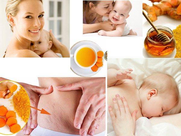 Nghệ vàng làm trắng da và phục hồi sức khỏe sau sinh.