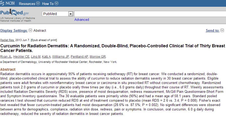 Bài viết về Curcumin làm giảm mức độ nghiêm trọng của biến chứng viêm da do xạ trị