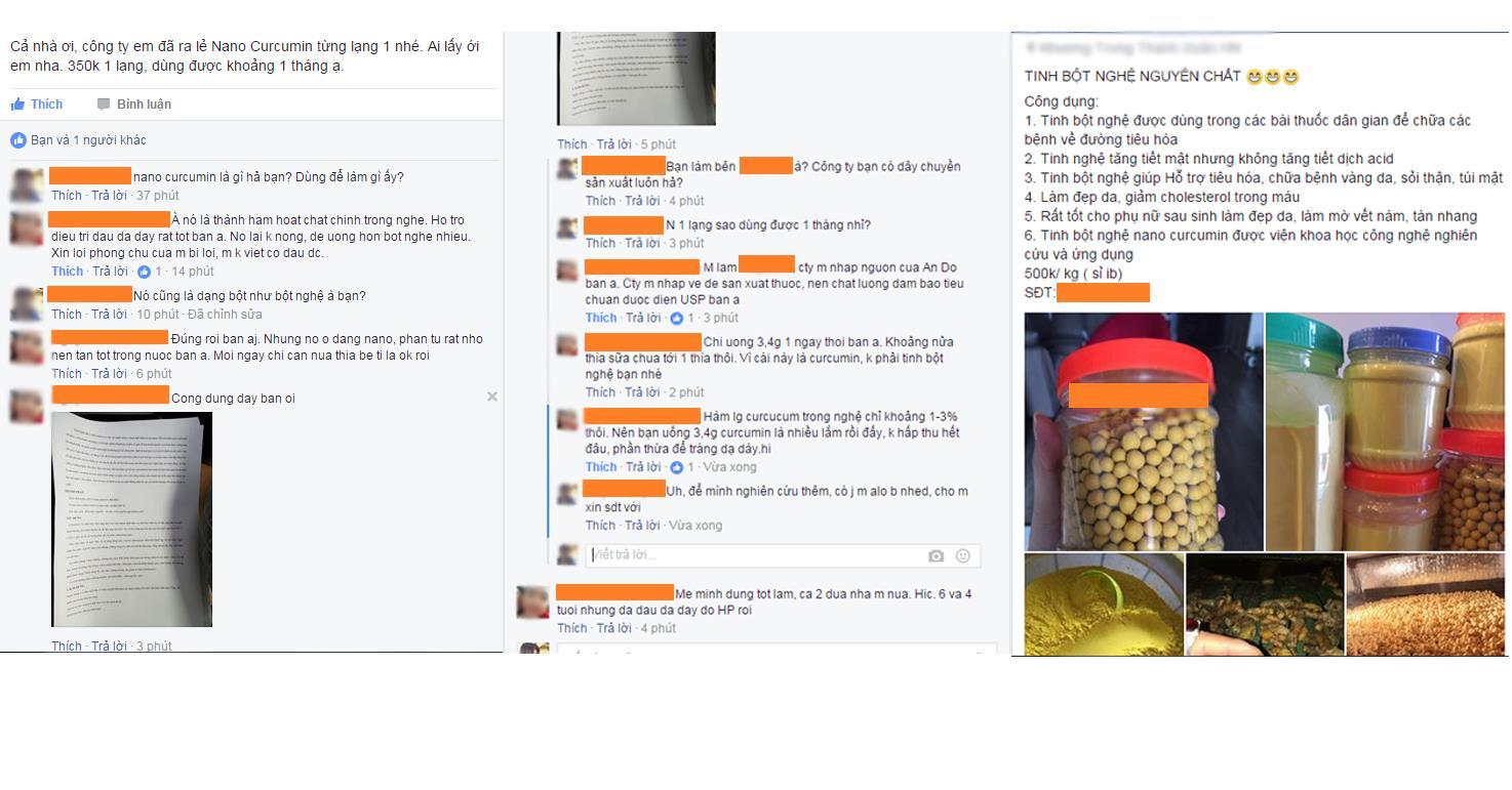 Nano Curcumin được rao bán tràn lan trên mạng xã hội