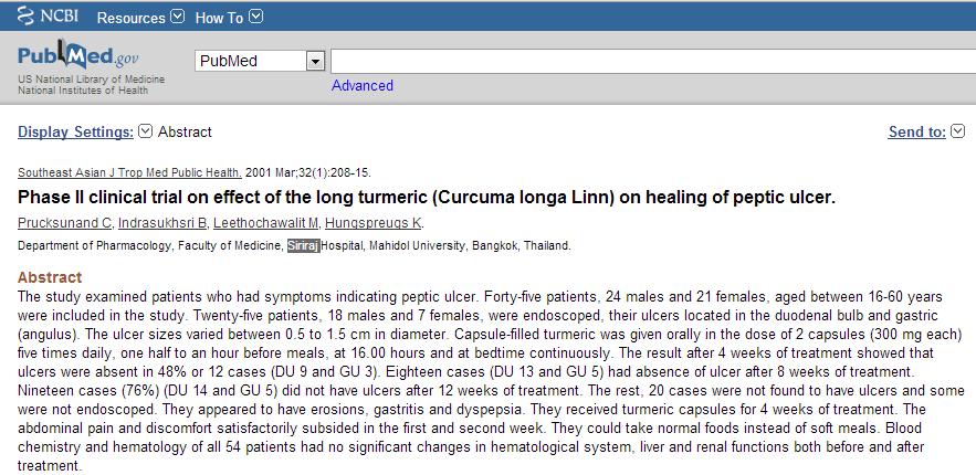 Bài báo về tác dụng của nano curcumin với bênh viêm loét dạ dày