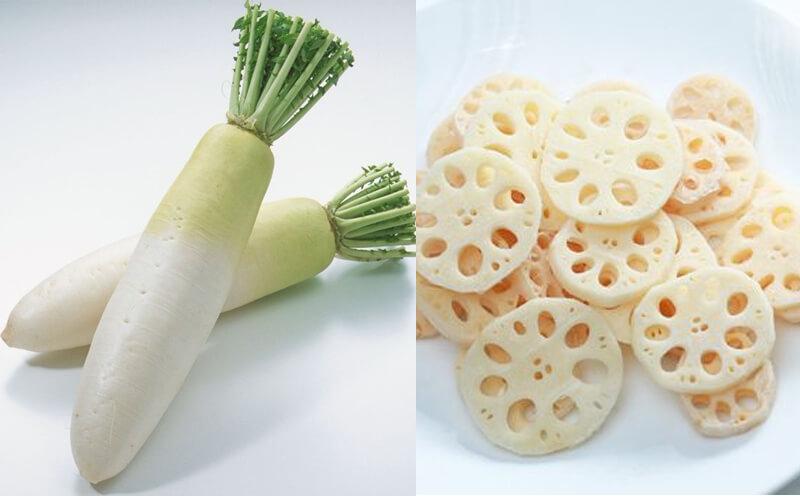 Bài thuốc chữa đau dạ dày bằng Củ cải và ngó sen tươi