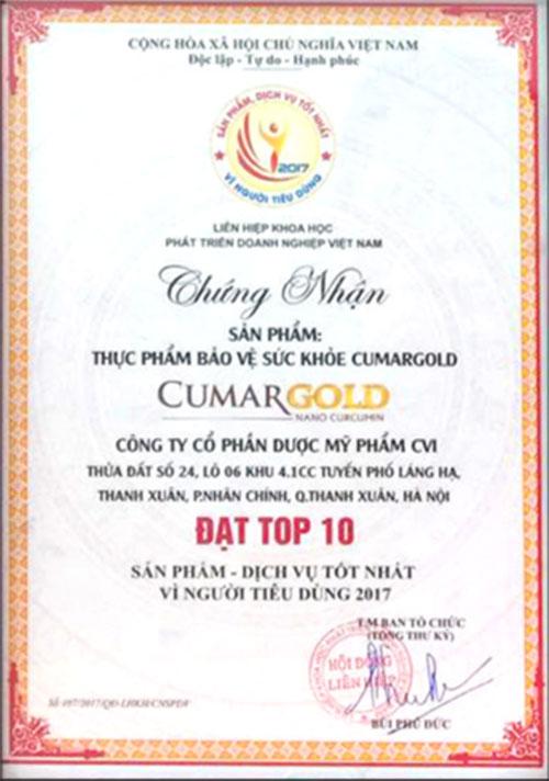Chứng nhận CumarGold đạt huy chương vàng về sức khỏe cộng đồng