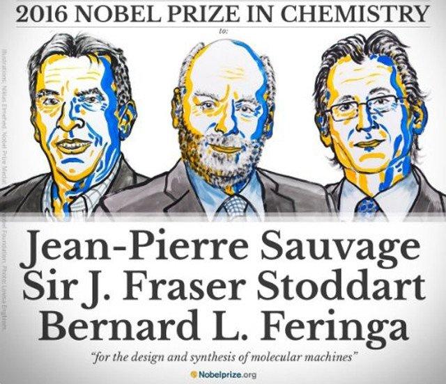 Chân dung ba nhà khoa học nhận giải Nobel Hóa học 2016. (Ảnh: NobelPrize.org).