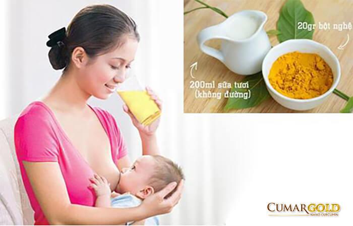Cách uống sữa nghệ cho phụ nữ sau sinh