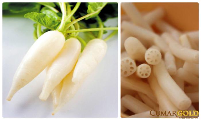 Củ cải và ngó sen chữa bệnh dạ dày