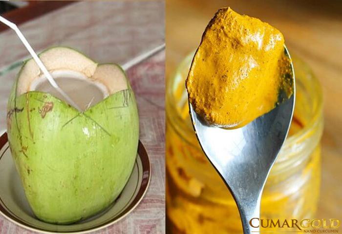 Nghệ vàng và dừa là bài thuốc kết hợp viêm dạ dày hiệu quả.